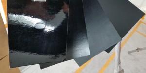 Matte black: Same black base coat, different clear coats.