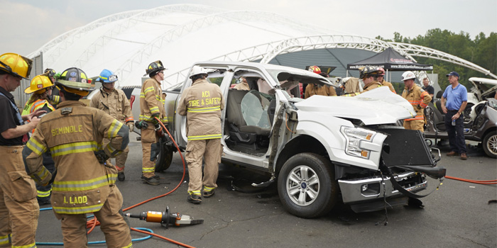 Firefighters practice extrication skills on a Ford F-150.