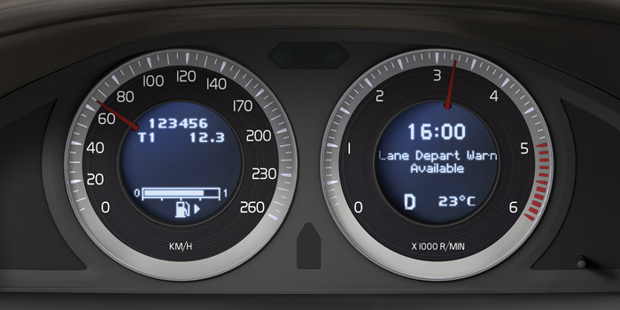 Photo courtesy of Volvo. Features such as a lane departure warning that uses camera systems may require recalibration of the sensors after a crash.