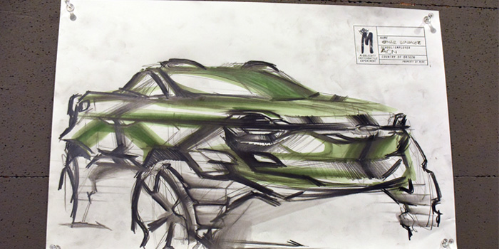 Omar Gonzalez's second round sketch featuring BASF Fresh Mint, 150 anniversary color from Asia Pacific.