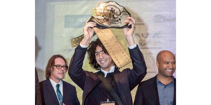 2016 Sketchbattle winner, Omar Gonzalez, with his championship belt.