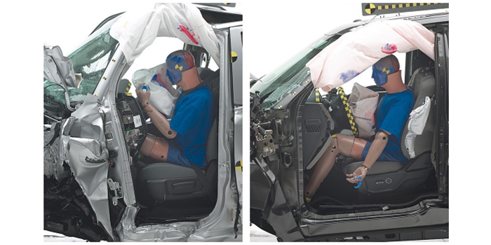 There was extensive occupant compartment intrusion in the Ram 1500 Quad Cab (left), resulting in a poor rating for structure. In contrast, survival space was well-maintained in the Ford F-150 Supercab (right).