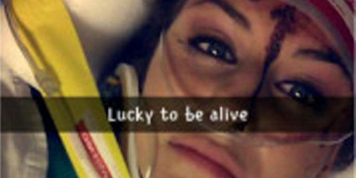 "Following the accident, Christal McGee took to Snapchat to post a bloody-faced selfie with the caption ""Lucky to be alive."""