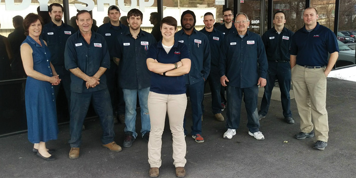 Jessica and her team at Don White's Body Shop.