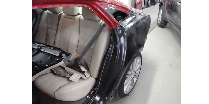 This $150,000 Jaguar found its way to a certified facility, where it was determined to replace vs. repair. Knowing when to replace vs. repair is a trained decision.