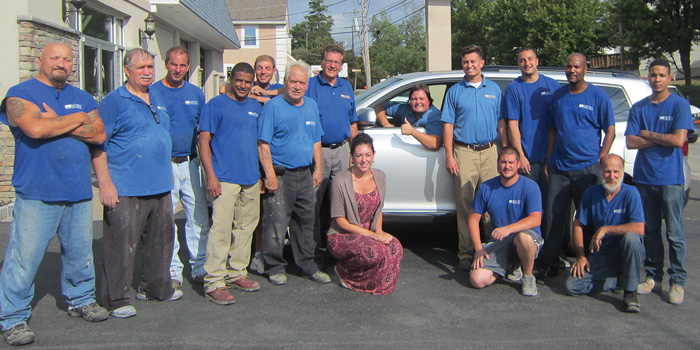 Moppet with his Morton, Pa., team and their Recycled Ride vehicle.